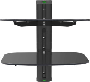 2 tier electronic component glass shelf wall mount bracket rtc website. Black Bedroom Furniture Sets. Home Design Ideas